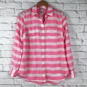 Merona bright pink white stripe button down shirt